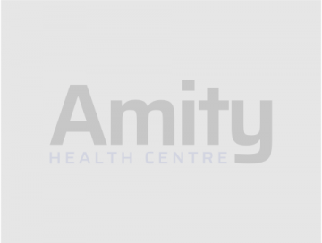 Amity Health Centre logo on a grey background