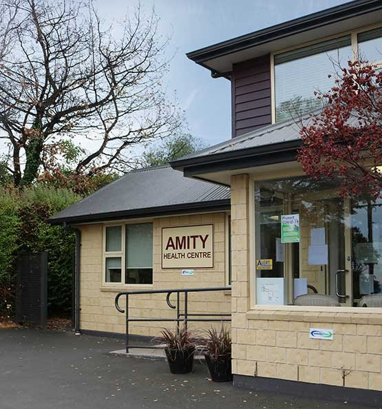Amity Health Centre building taken from the right